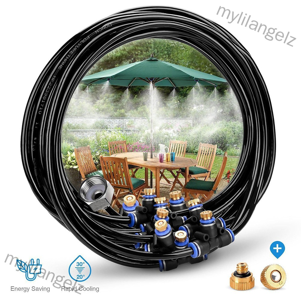 Mylilangelz 8M Outdoor Misting Cooling System 9 Spray Nozzles+Brass Adapter for Courtyard Trampoline