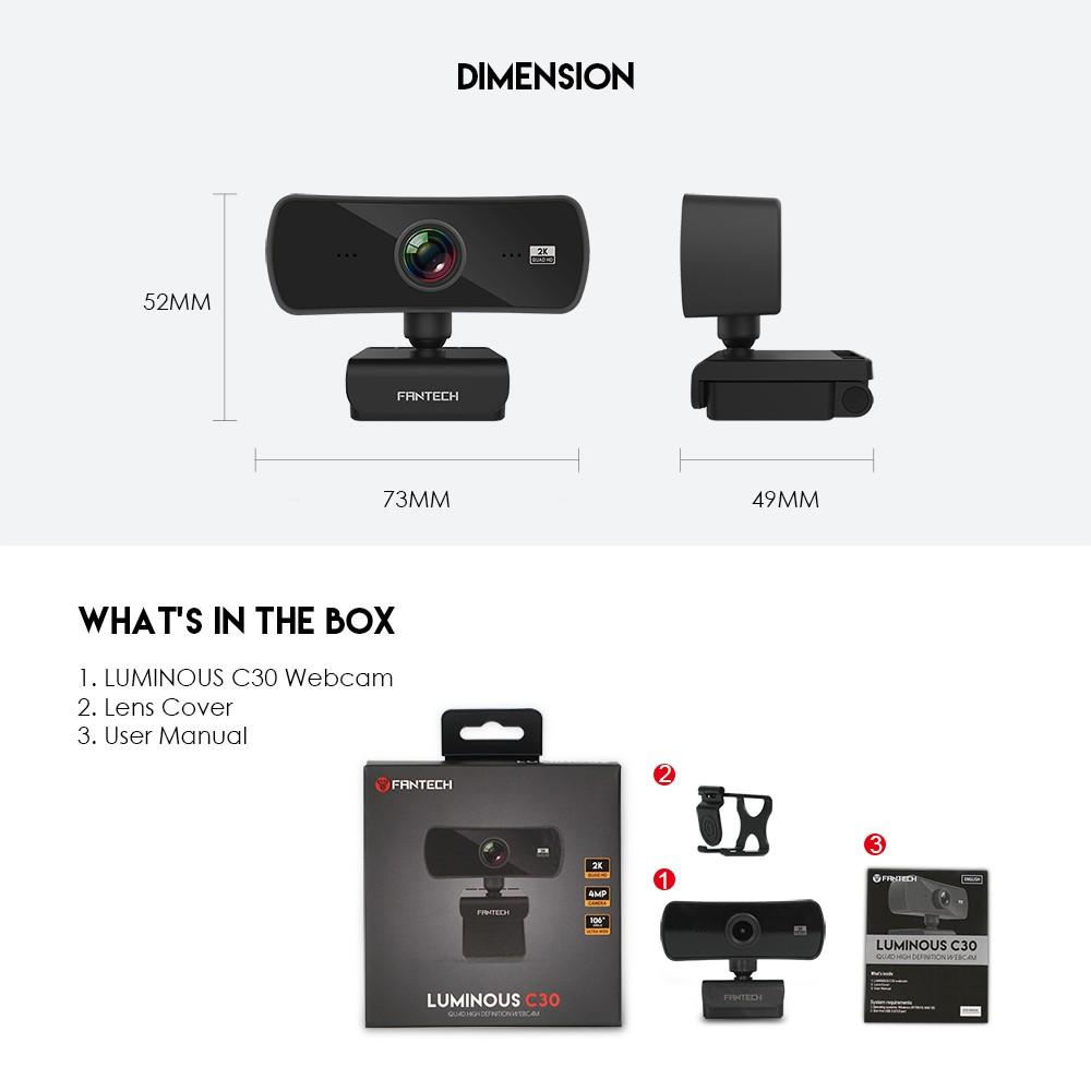 Fantech Webcam 2K 4MP Luminous C30 QHD 1440P 🔥 Very High Quality 🔥 | Shopee Malaysia