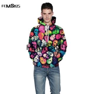 New Skull 3D All Over Printed Hoodies Pockets Sweatshirt Hipster Streetwear