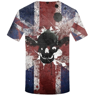 1778a5a4a15d KYKU Brand Skull T-shirts Men British Flag T shirts Anime Ink Tshirts  Printed Wi