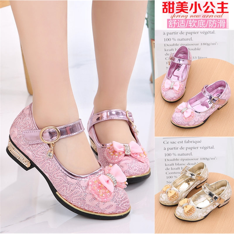 Girls Children Princess Shoes Mary Jane Ballerina Flat Shoes Lace Flower Party Dance Shoes 4-12 Years Old