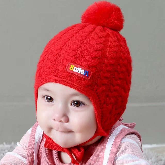 438bc34b9b7 Baby Hat Autumn Winter 6-12 Months 3 Ear Hood Head Child Knit Cap Men and  women Baby Wool Cap 1-2 Years