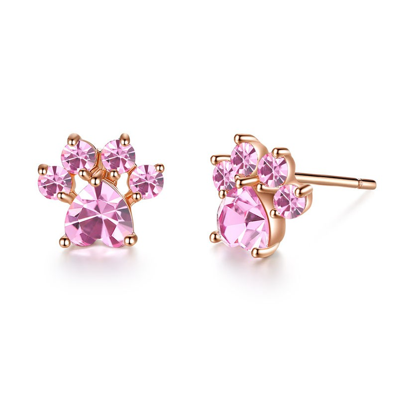 Fashion Lovely 18K Rose Gold Filled 5mm White Pearl Crystal Flower Stud Earrings