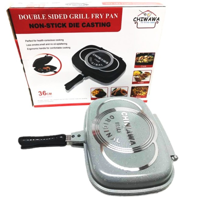 【original】 Chiwawa Italy Non Stick Double Sided Grill Pan
