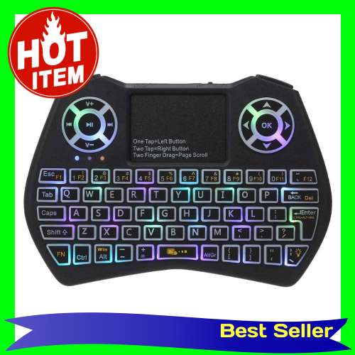 2.4GHz LED RGB Backlit Wireless Keyboard with Touchpad Mouse Remote Control for Android TV BOX PC Projector (Standard)