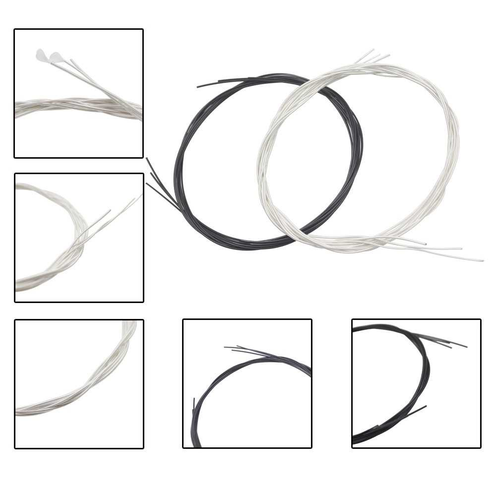 Black Nylon Core Silver-Plated Copper Wound 1st-6th(.028-.043) 6pcs Classical Guitar Strings String Set (silver)