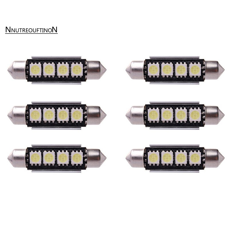 6 X Car Interior Light Bulb 5050 Smd Led 42mm Car Dome Can Bus Festoon Lamp Whit