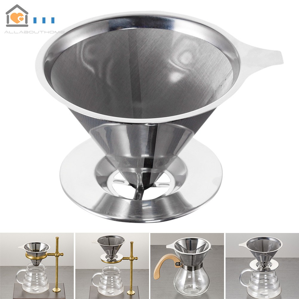 Reusable Stainless Steel Pour Over Coffee Filter Cone Dripper with Cup Stand