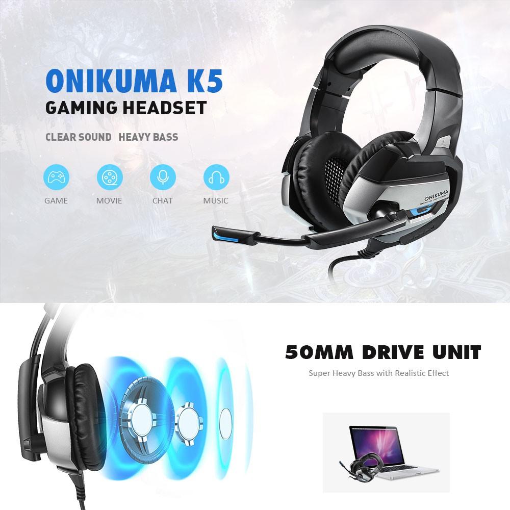ONIKUMA K5 LED Light Stereo Gaming Headset with Mic