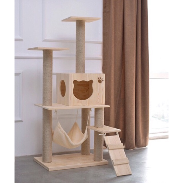 Ideal Ready Stock Solid Natural Wood Cat Tree | Shopee Malaysia HC22