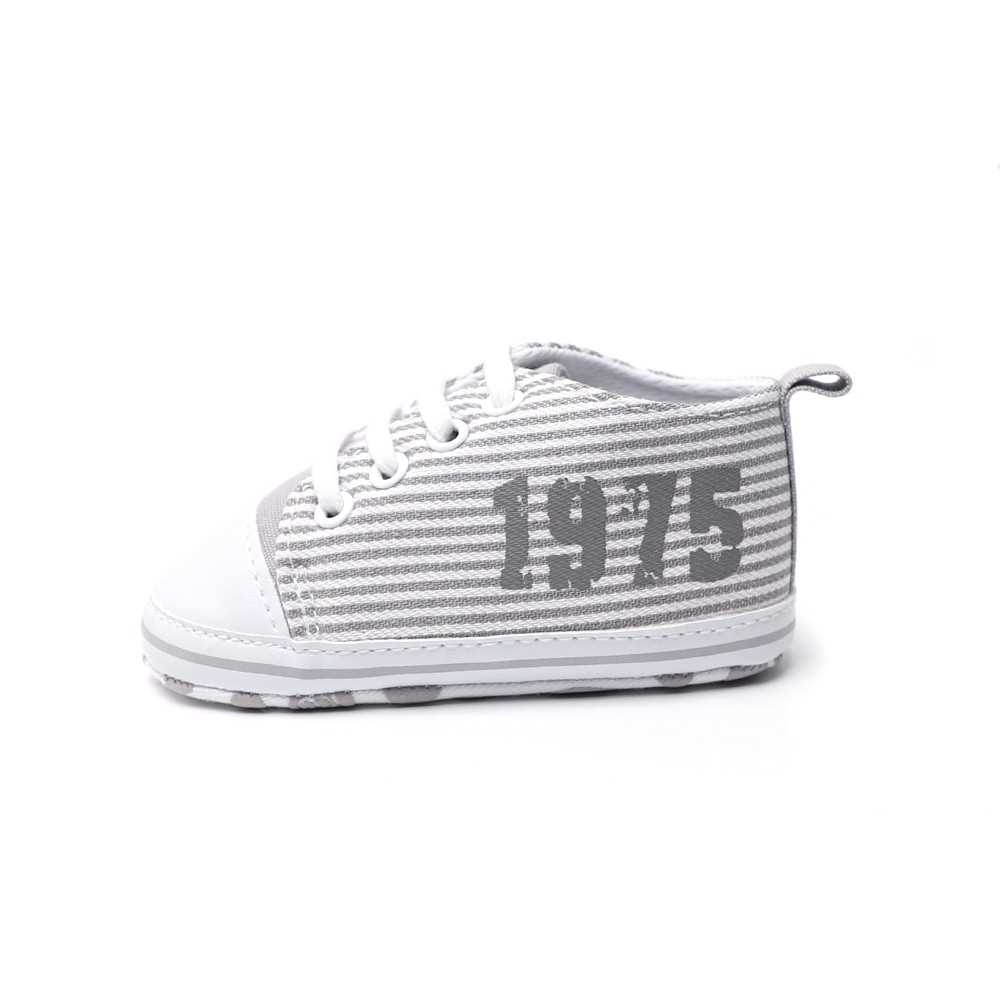 Infant Toddler Baby Casual Shoes Cotton Stripe Soft Sole Non-Slip Sneaker Prewalker Pink 4M (Gray)