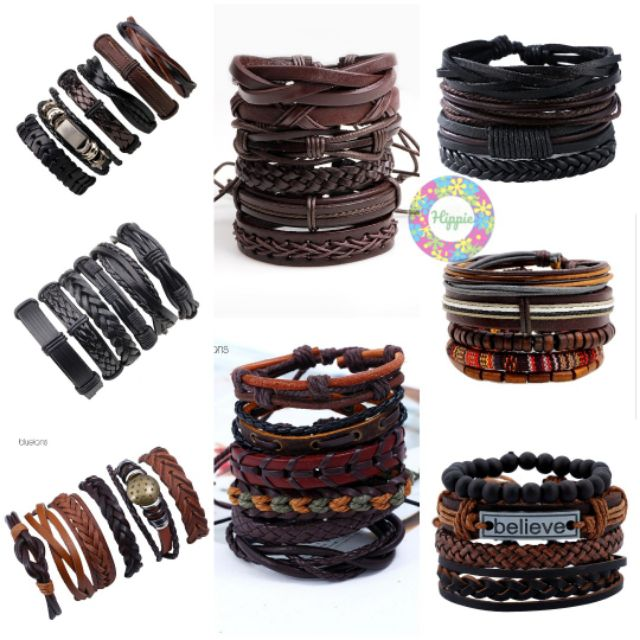 Ready Stock Msia Gelang Tali Hipster Leather Bracelet