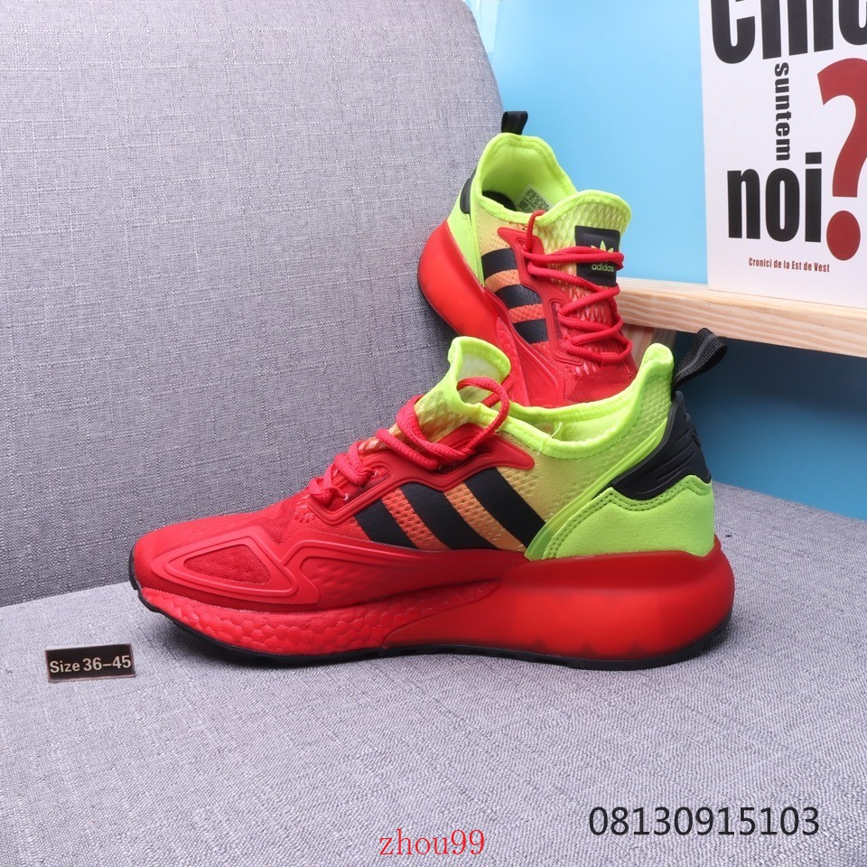 Adidas Originals ZX 2K Boost easy-to-wear red cushioned casual sports running shoes.