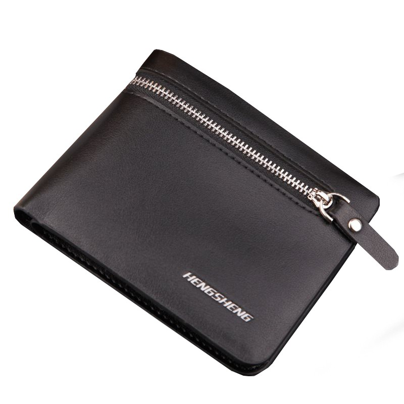 HENGSHENG AP019 Men's Leather Zipped Short Wallet SWLT-019