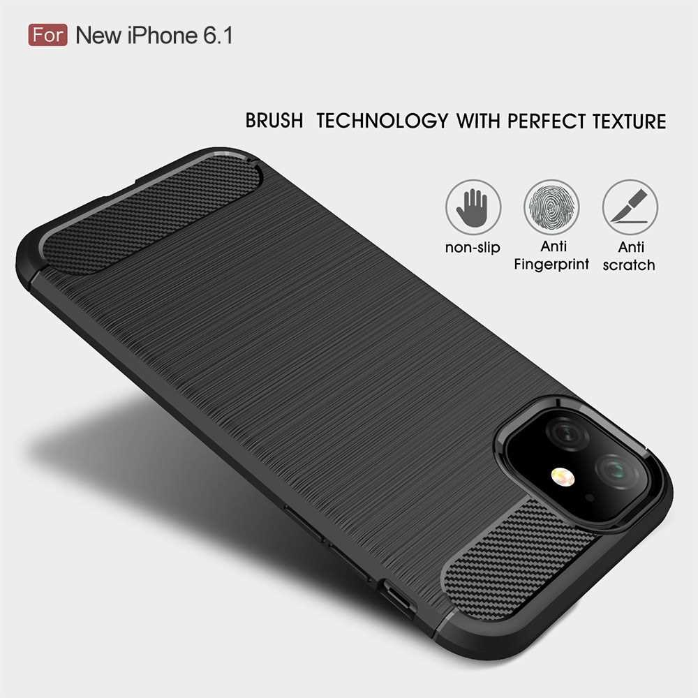 Lightweight Waterproof Iphone 6.1 Type Mobile Phone Cover Brushed Silicone Anti-Drop Soft Cover For I-phone 11 (Navy Bl