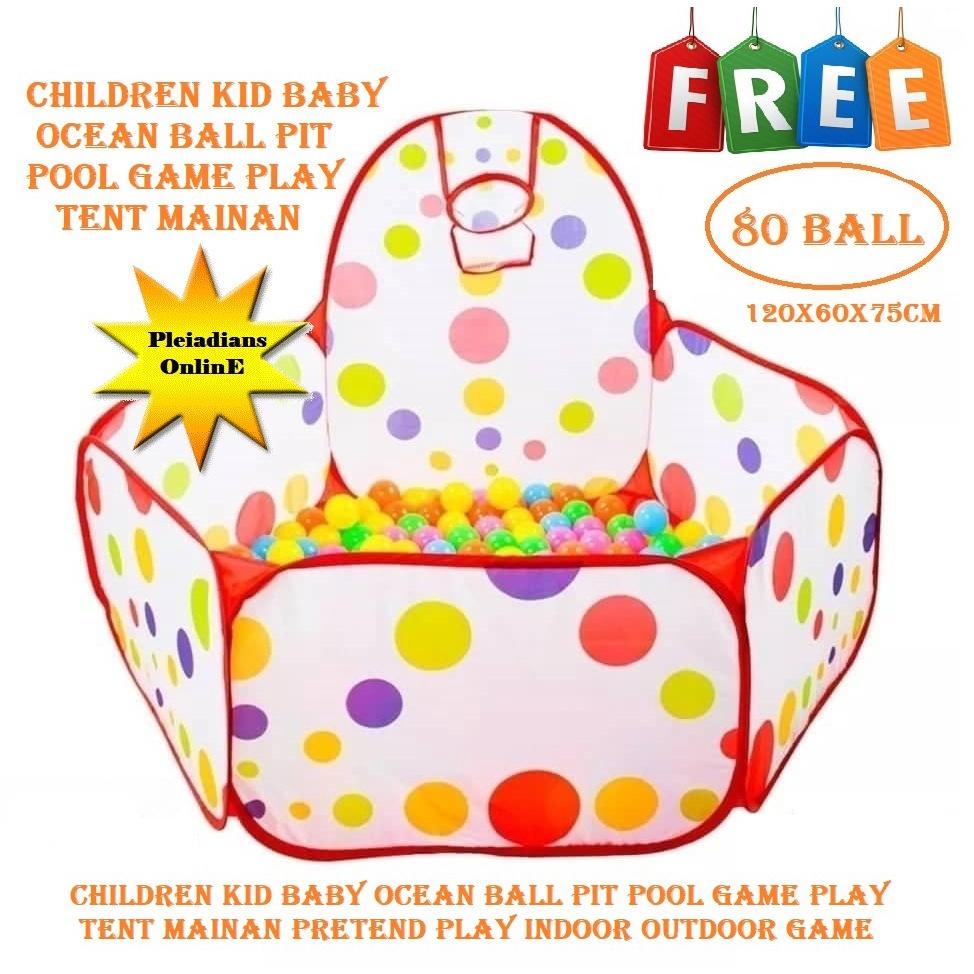 [ READY STOCK ]  Play House Indoor Folding Ocean Ball Pool Tent (Free 80 Ball) Kid Baby Toy Mainan Jualan Murah Pretend