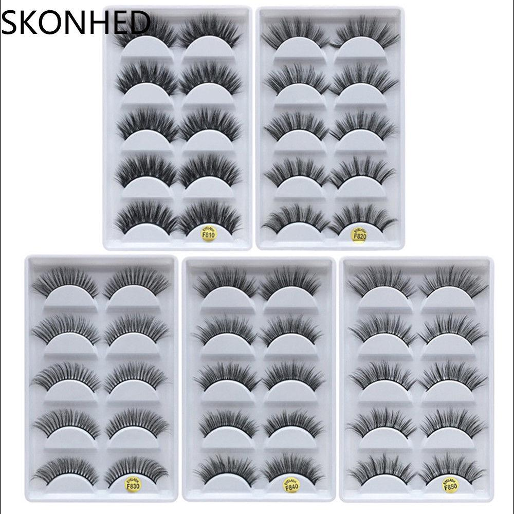 990303b9af8 5 Pairs 100% Real Mink 3D Volume Thick Soft Daily False Eyelashes Strip  Lashes