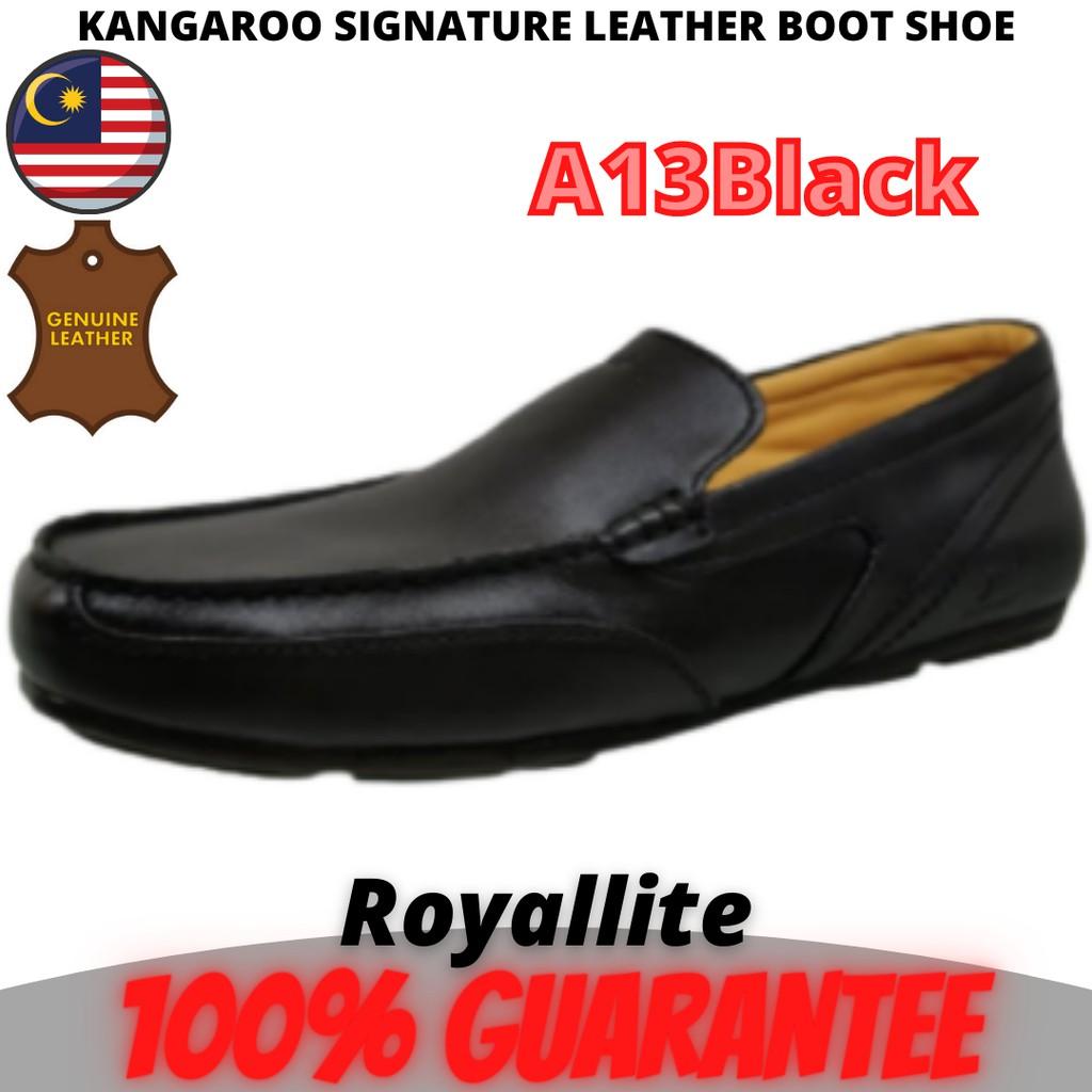 KANGAROO MEN LEATHER SHOE SLIPON Casual (9500) A61Camel & A13Black