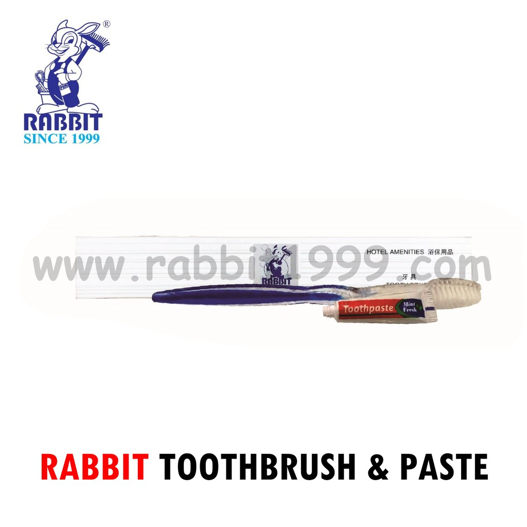 RABBIT TOOTHBRUSH & PASTE- 1set- travel toothbrush/ hotel toothbrush/ hotel amenities