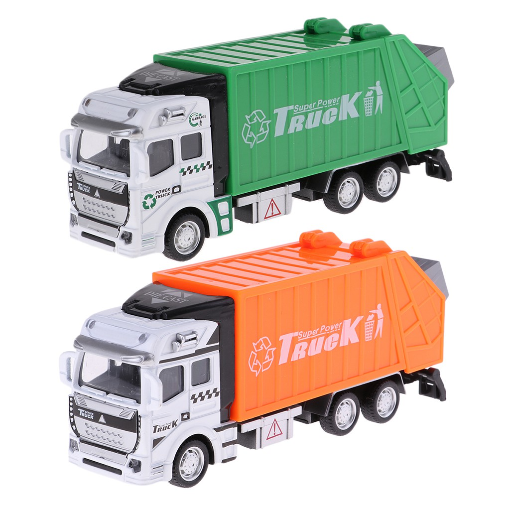 1:32 Pull Back Power Metal Alloy Car Garbage Truck Toy for Kids