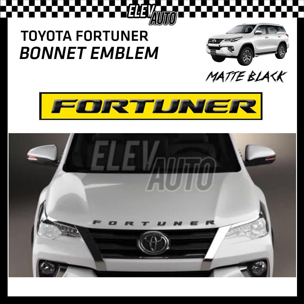 Toyota Fortuner Matte Black Logo Bonnet Emblem 3D