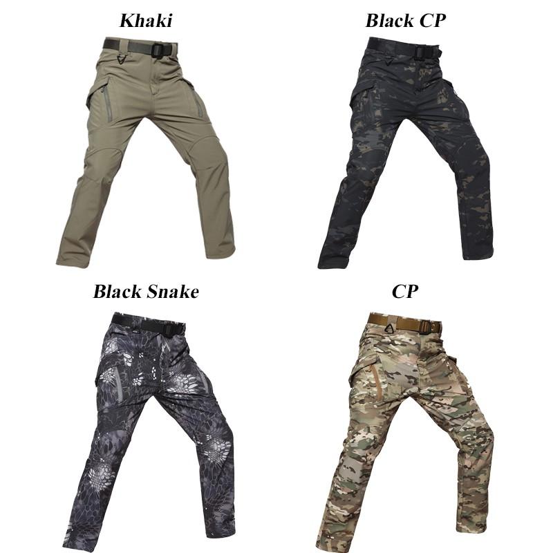 Tactical Mens Pants Combat Fleece Waterproof Softshell Casual Cargo Hiking IX9