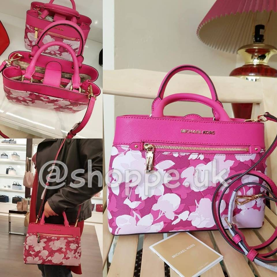 8a44cefe581c Michael Kors Hailee Granite XS Satchel Small Crossbody Pink White Floral