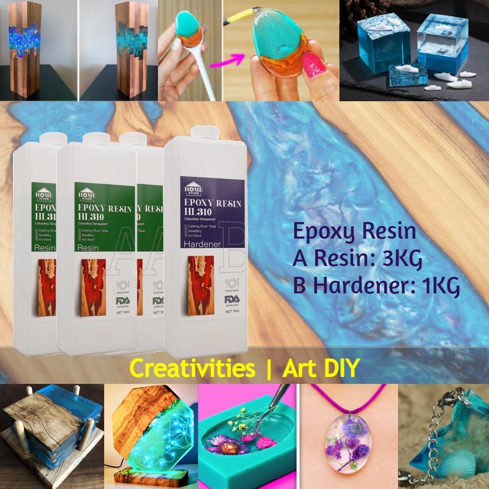 Home Store HL310 Epoxy Resin Colourless Transparent River Table Casting 4KG (A Resin: 3KG + B Hardener: 1KG)