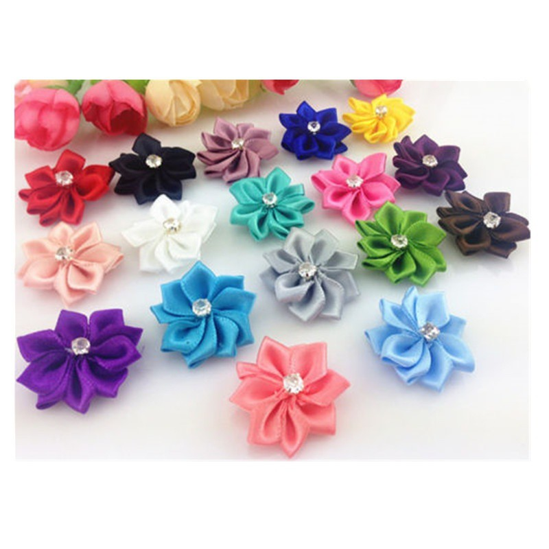 DIY 10-50PCS Satin Ribbon Flower with Crystal Bead Appliques~Craft//Trim