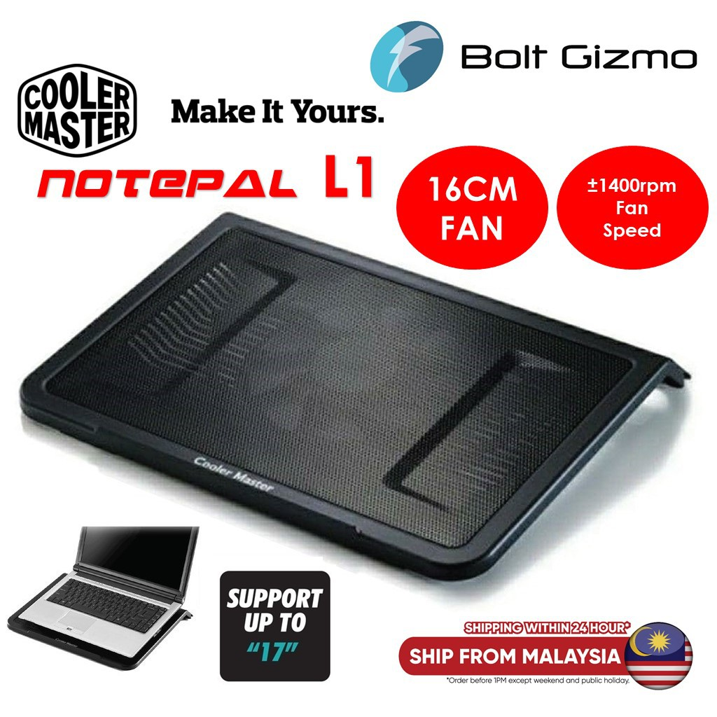 "Cooler Master Notepal L1 Laptop Cooler Pad Up To 17"" Notebook Cooling Fan  NPL1 R9-NBC-NPL1-GP 160mm Fans Heatsinks USB"