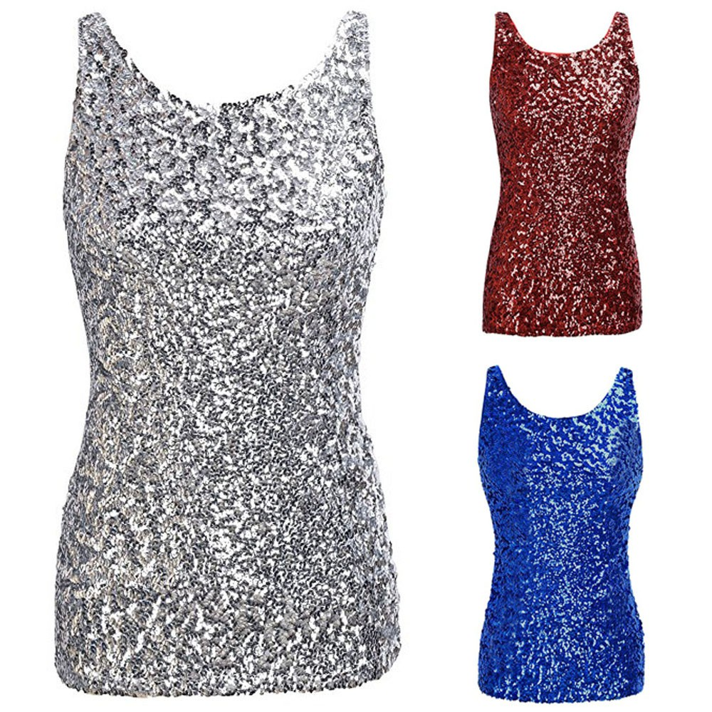 ee8d48b2f0 Women Shimmer Glam Sequin Embellished Sparkle Play Tank Top Vest Tops