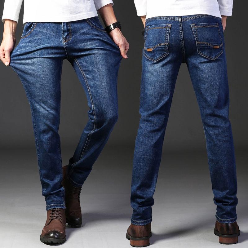 Mens Skinny Jeans Straight Leg Stretch Denim Pants 5 Pockets Black Size 28 to 40