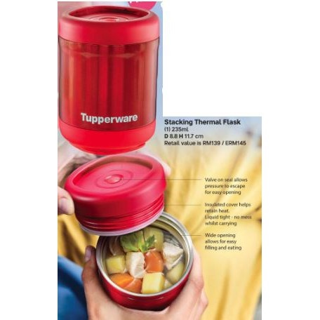 *LIMITED EDITION* TUPPERWARE THERMAL STACK FLASK / THERMOS 235ML RED (1)