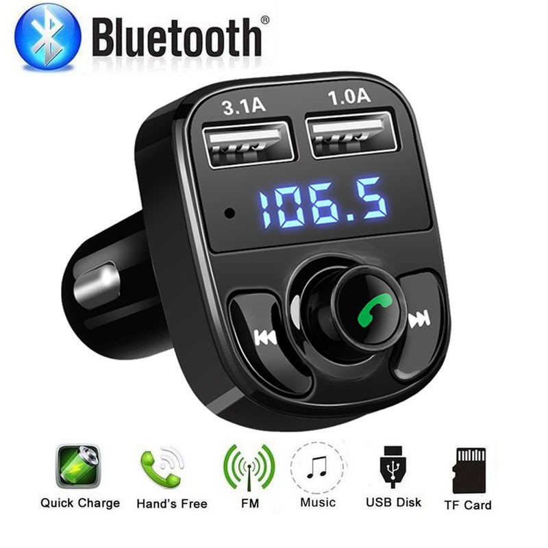 Car FM Transmitter Hands-free Bluetooth Car Kit MP3 Player Dual USB Charger