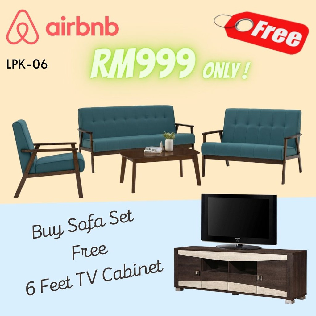 Living Room Package- LPK06/ airbnb furniture/ sofa set/ 6 feet tv cabinet/ living room package/ living furniture