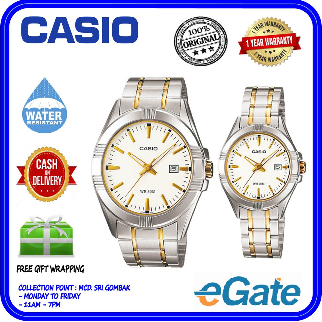 Casio Couple Watch Jam Tangan Silver Strap Stainlesssteel 1302d 1a2 Stainless Steel Mtp 1183a 7a Ltp Analog Date Display