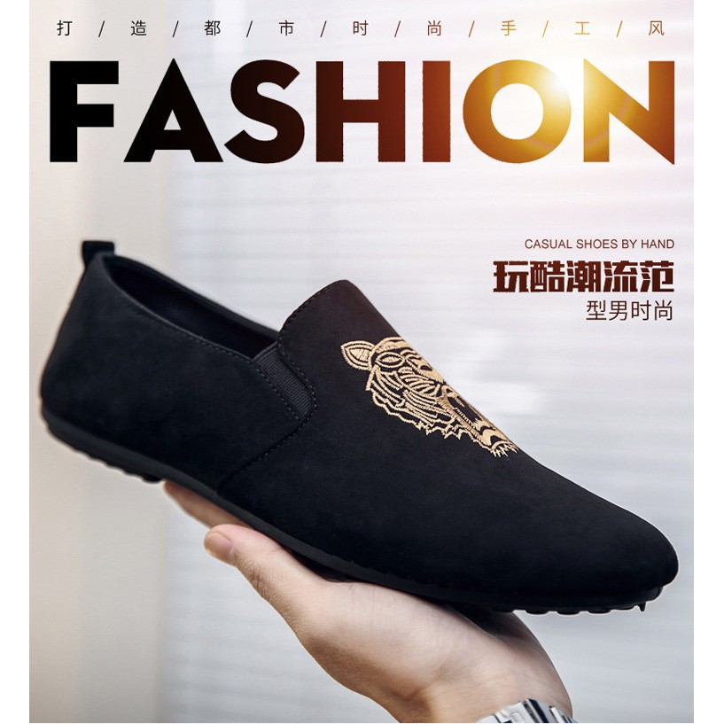 386ce8cbccfaa5 ProductImage. ProductImage. Men Slip n Fashion Embroidery Tiger Head Casual  Canvas Loafer Shoes