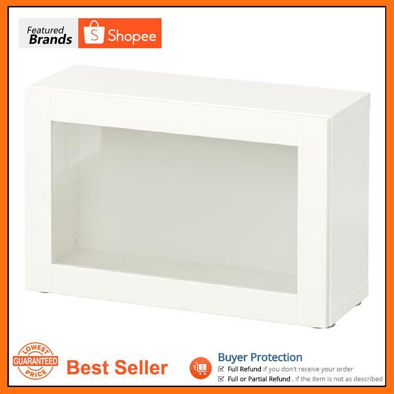 Sindvik White 60x20x38 Cm Ikea Besta Shelf Unit With Glass Door