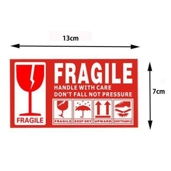 [Ready Stock] Fragile Sticker Fragile Label Warning Label (13cm*7cm) Label Mudah Pecah 易碎粘纸
