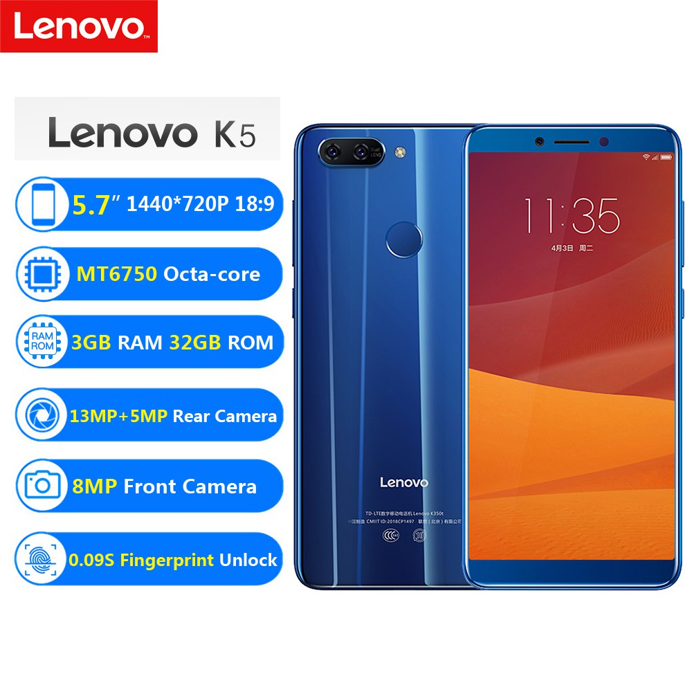 Lenovo K5 4G LTE Mobile Phone 3GB+32GB MT6750 Octa-core Smartphone 5 7''HD  13MP