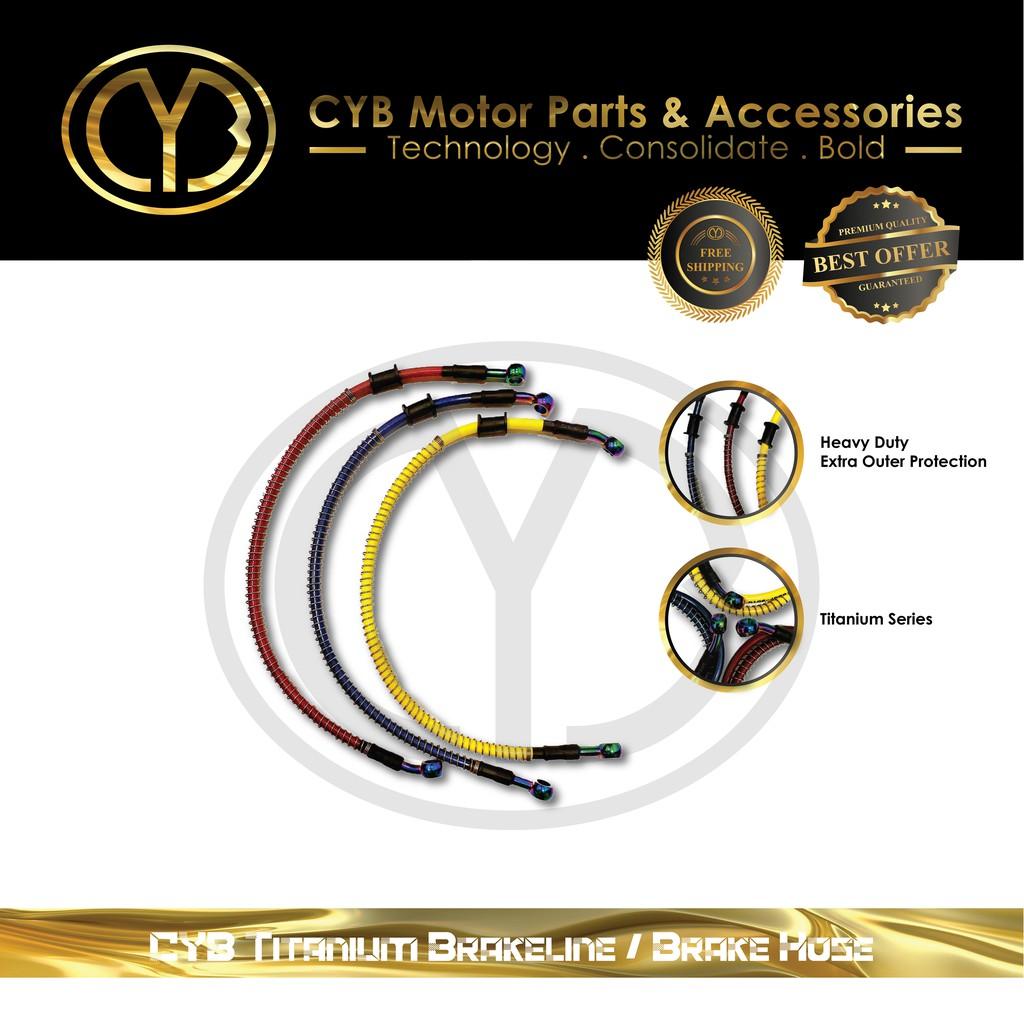 [ READY STOCK ] CYB Universal Brakeline / Brake Hose [ 50cm / 100cm ] [ Chrome / Titanium ]