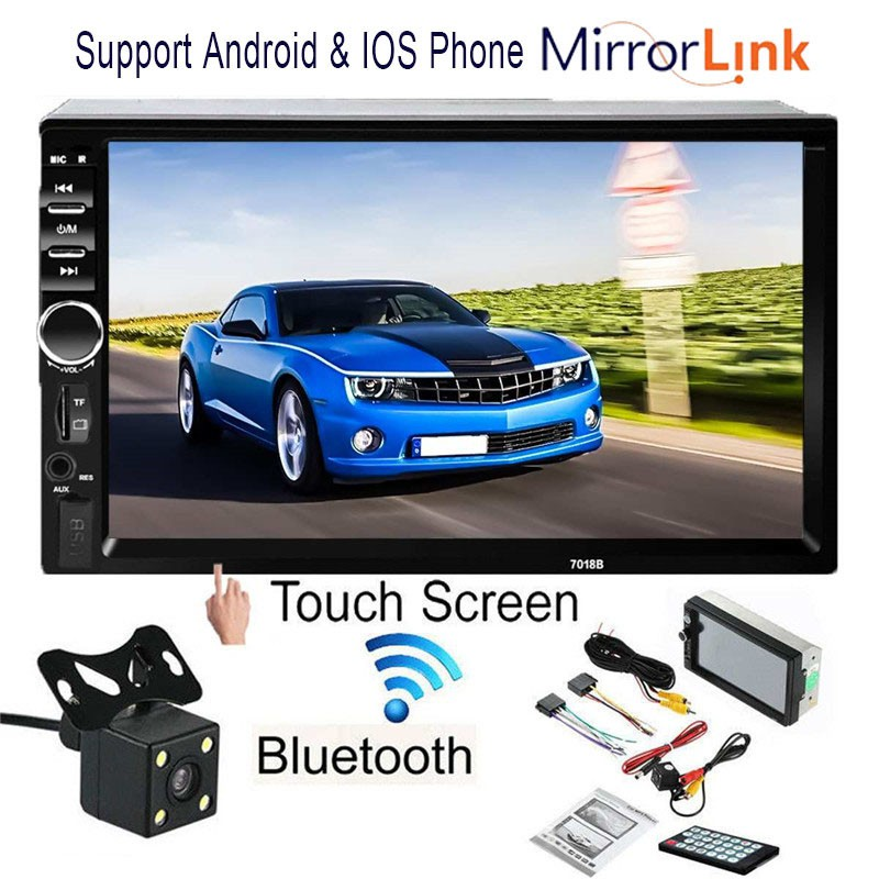 7018B 3rd 7'' Double 2 Din Car Radio MP5 Player Android & IOS  MirrorLink+Camera