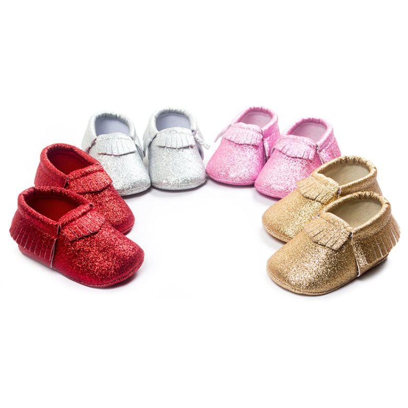 b55fa002f5 0-18M Baby Fringe Soft Sole Moccasin Boy Girls Toddler Leather Bling Crib  Shoes