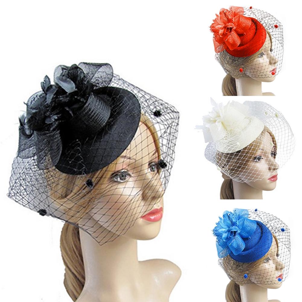 bb07e4f0d Elegant Women Mini Top Feather Hat Fascinator Vintage Hair Clips Party  Costume