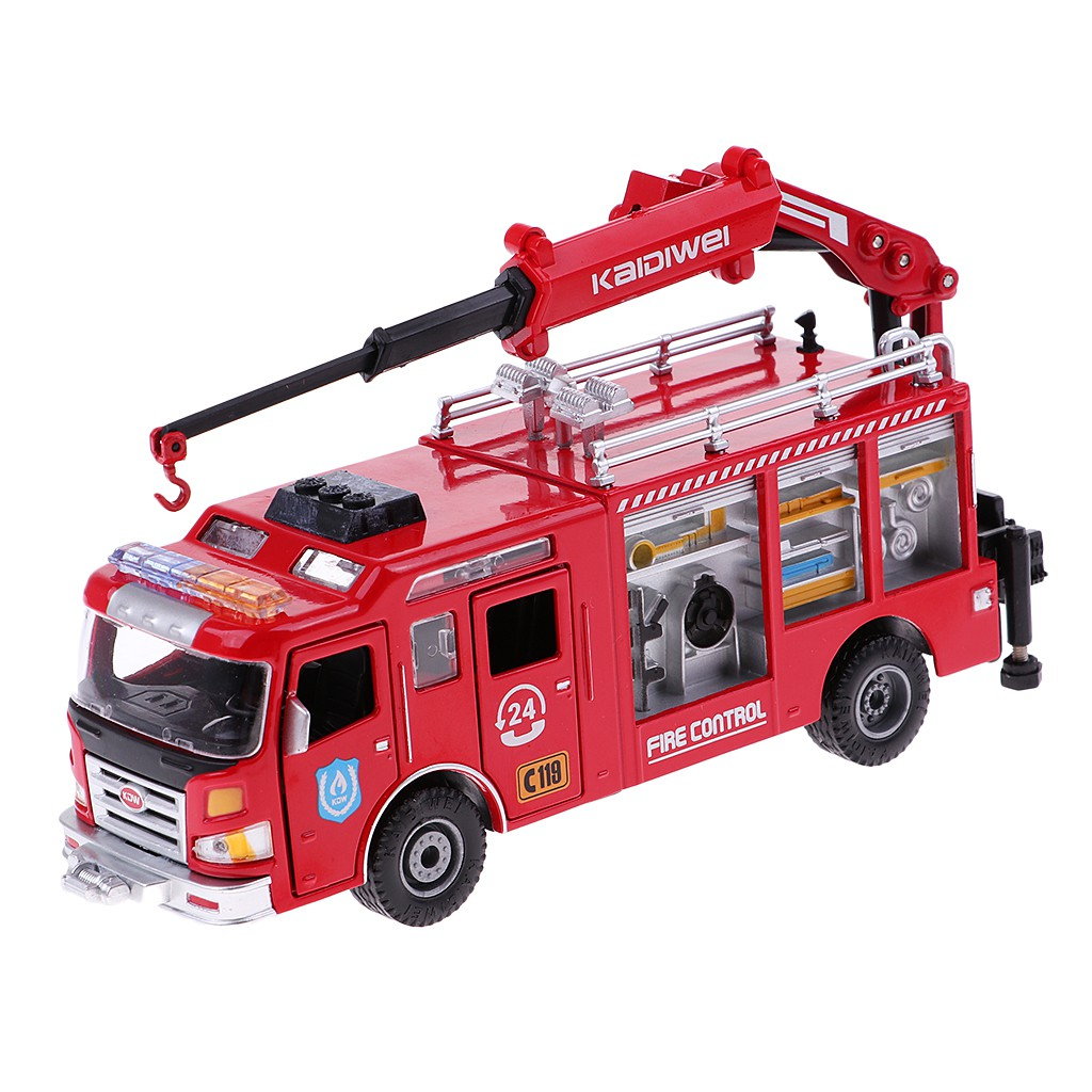 1:50 Fire Engine Truck Toy Fire Rescue Car Crane Diecast Toy Layout Scenery