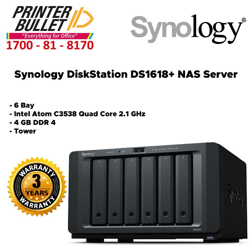 Synology DiskStation DS1618+ NAS Server (6 Bay, 4 GB DDR4, Tower)