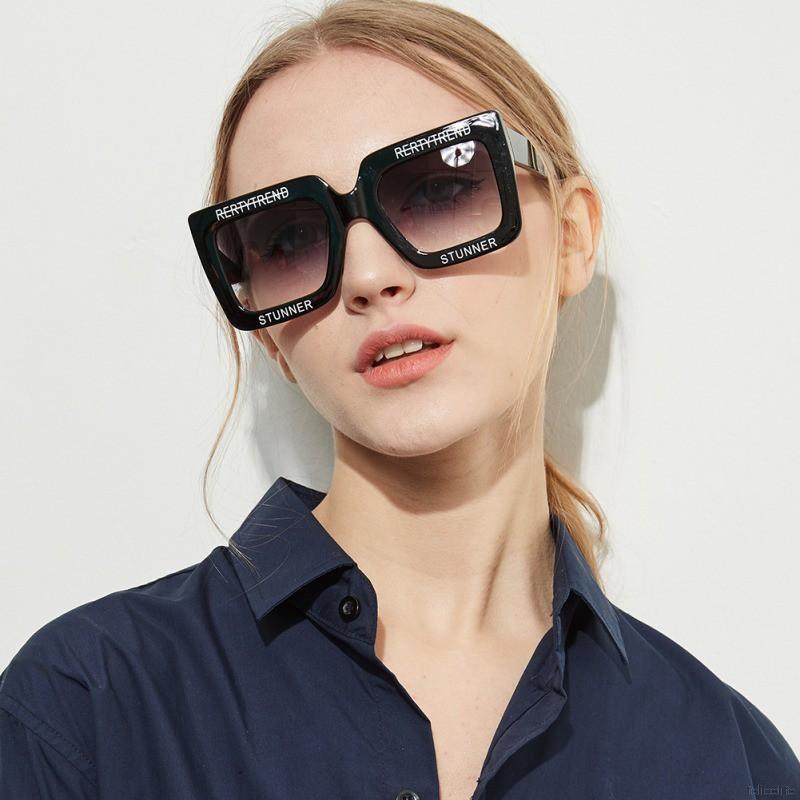 Retro Clear Colored Lens Ac Letters Versatile Square PC Frame Sunglasses
