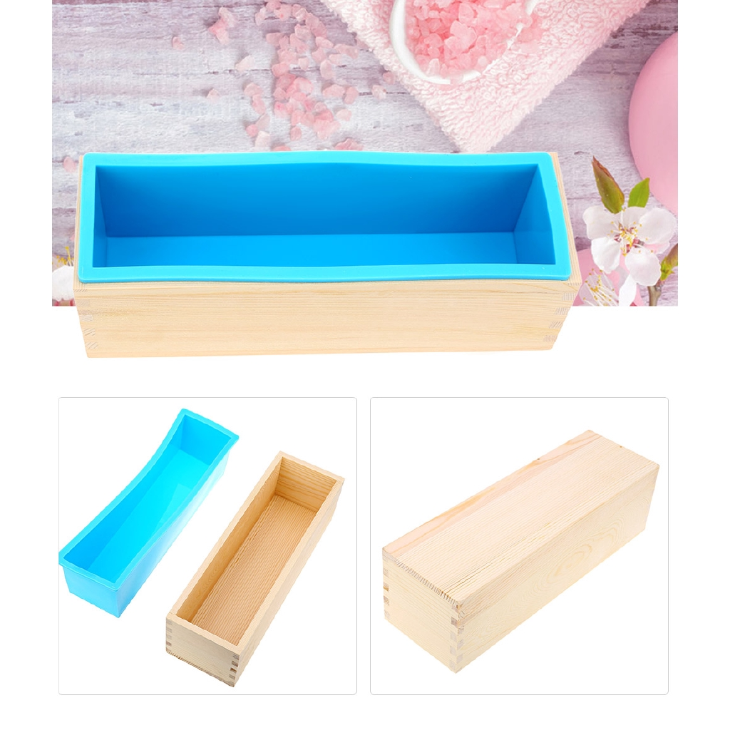 1200g Silicone Soap Loaf Mold Wooden Box DIY Making Tools 900g
