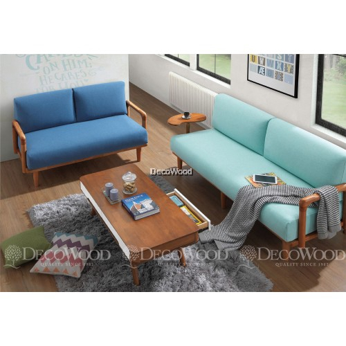 Swell Carolina Blue Brown Round Solid Wood Sofa Set 3 Seater Fabric Cushion Sofa Andrewgaddart Wooden Chair Designs For Living Room Andrewgaddartcom