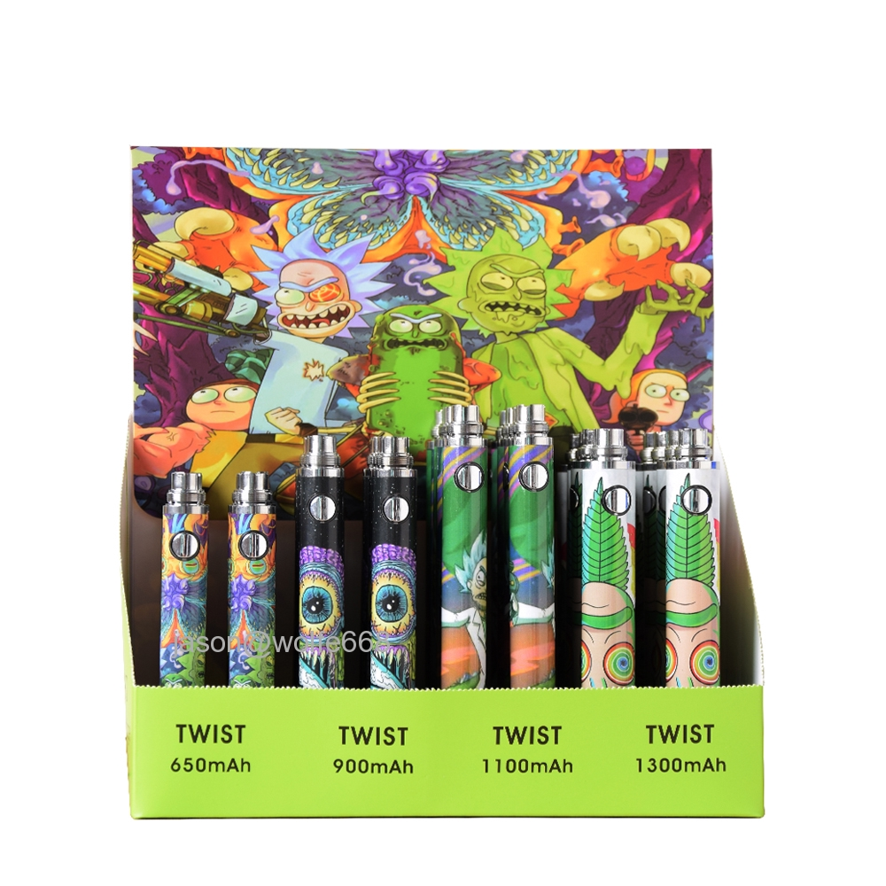 32pcs Rick and Morty e-cigarette Variable Voltage Vape 3 3-4 8V Smoking Pen  510 CE4 Universal Ego Battery